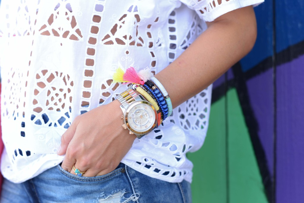 baublebar-tassel-bracelets-topshop-embroidered-white-shirt-denim-shorts