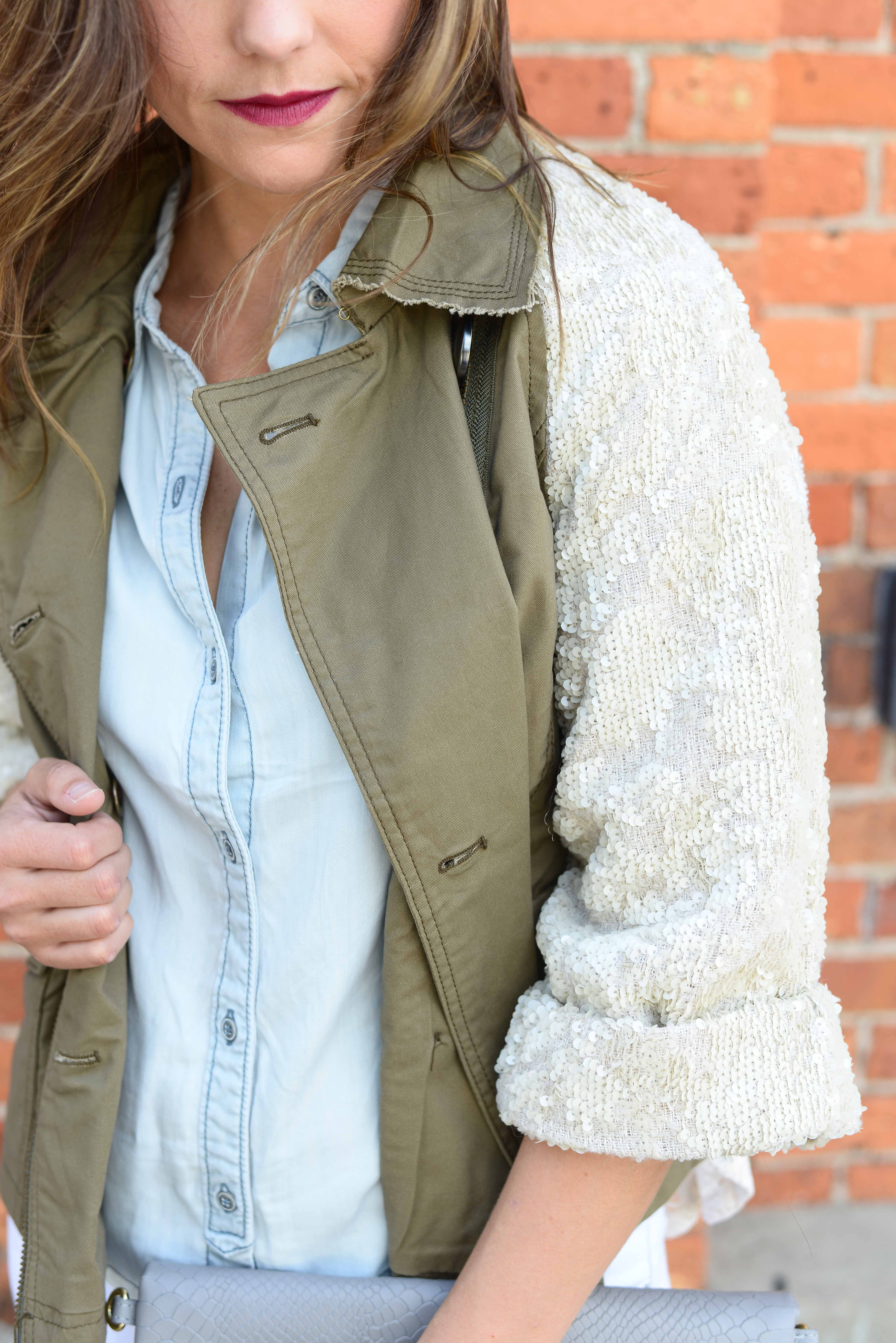 Anthropologie Shimmer Sleeve Anorak