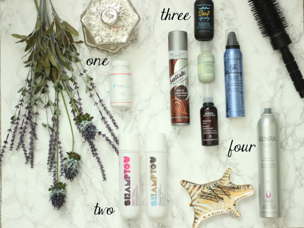 The right kind of hair products are important for great messy top knot results
