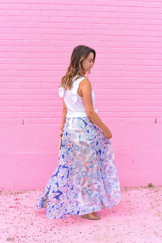 bow back tank and paisley skirt