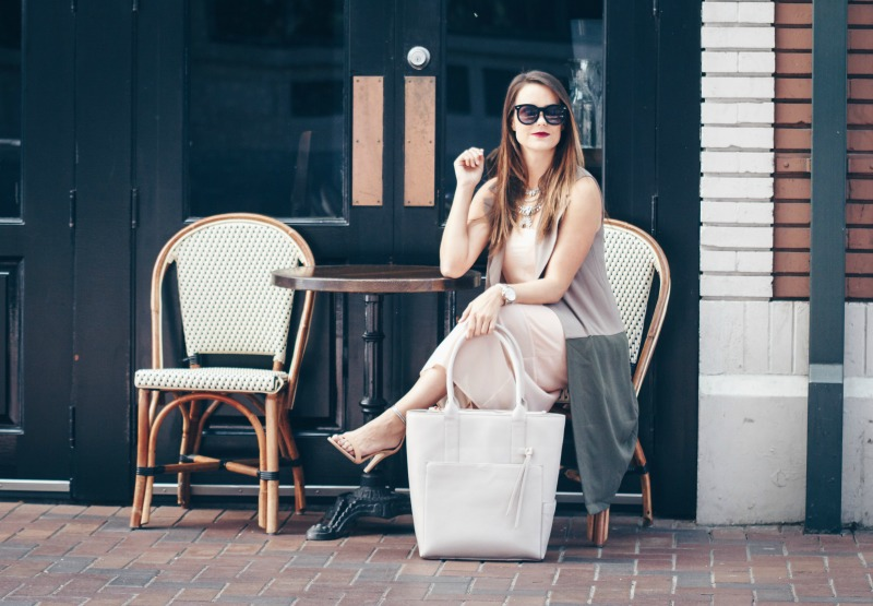 BLUSH DRESS AND OLIVE VEST by popular Houston fashion blogger The Styled Fox
