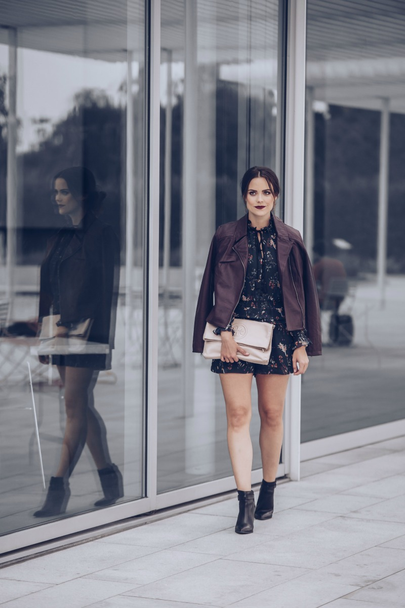 Adelyn Rae Blouson Romper, cupcakes and cashmere Faux Leather Moto Jacket
