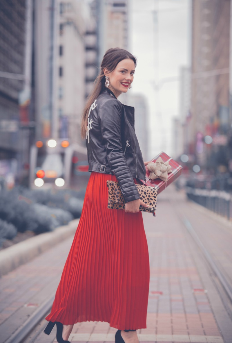 HOLIDAY SEQUINS, Eliza J Sequin Crop Top, Chicwish Pleated Maxi Skirt, Alice and Olivia Gamma Embroidered Leather Jacket, Clare Viver Leopard Clutch