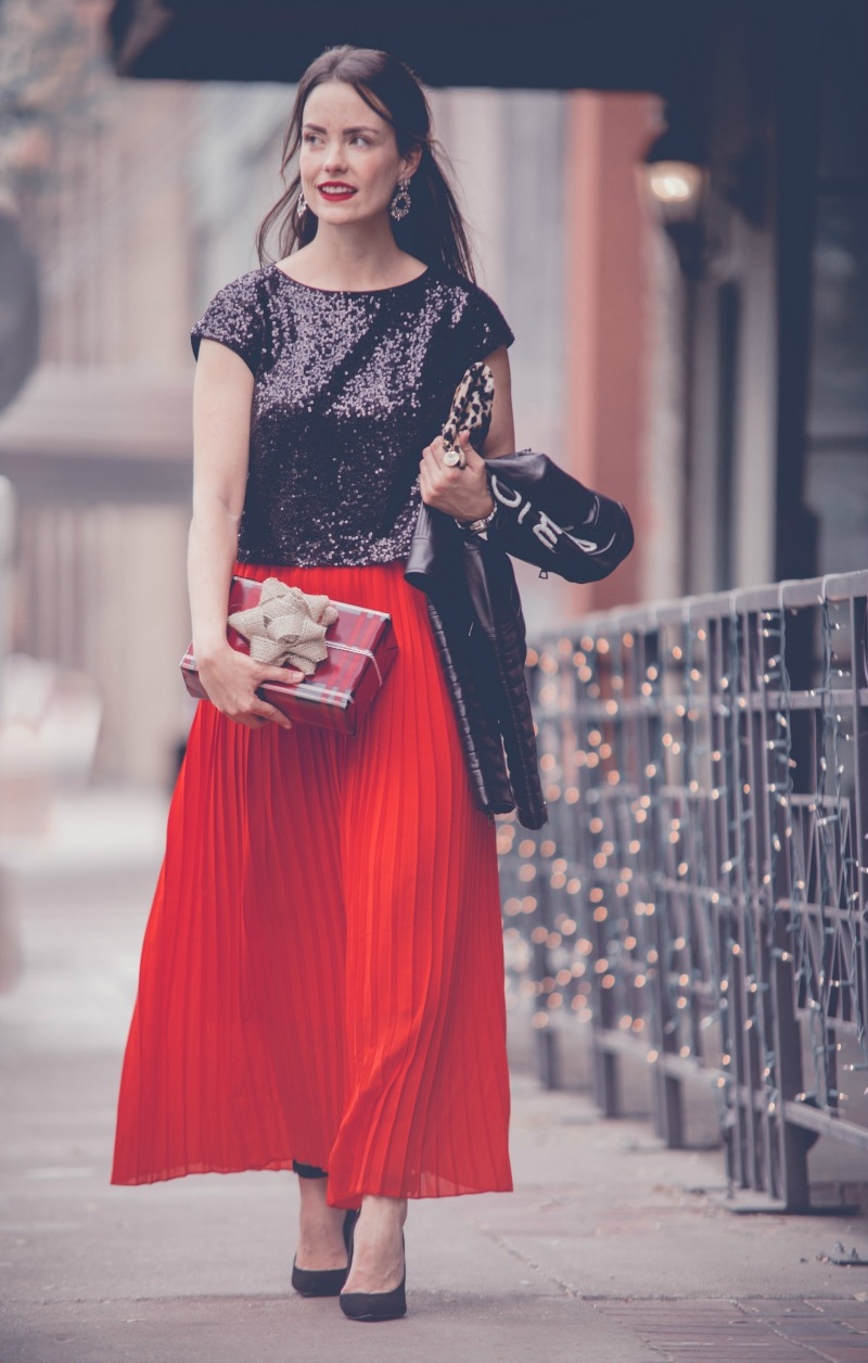 Eliza J Sequin Crop Top, Chicwish Pleated Maxi Skirt, HOLIDAY SEQUINS