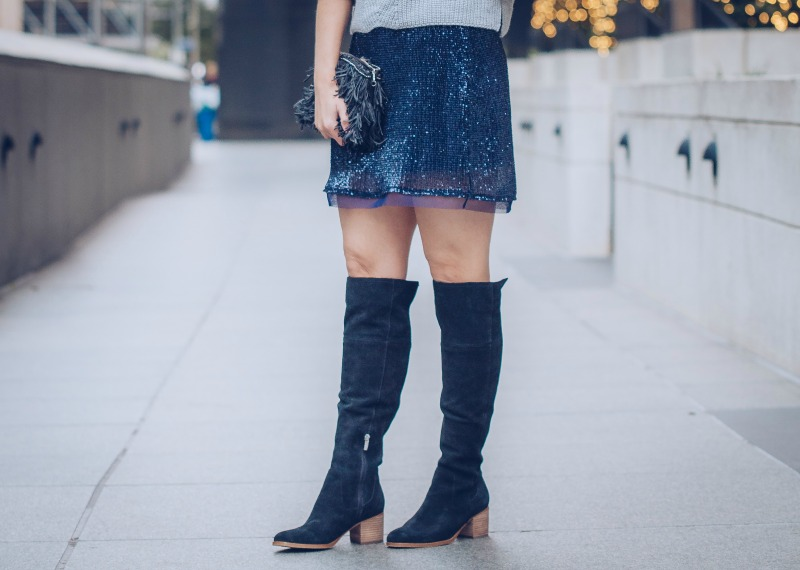 53161da6de Free People Sequin MIni Skirt, March Fisher Over The Knee Boots
