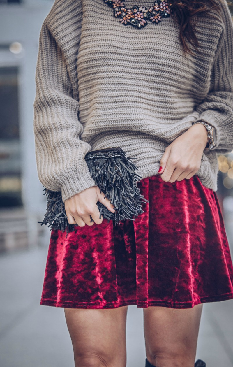 TOPSHOP Velvet Mini Skirt, GLAMOROUS Open Back Sweater, MARC FISHER Over The Knee Boots