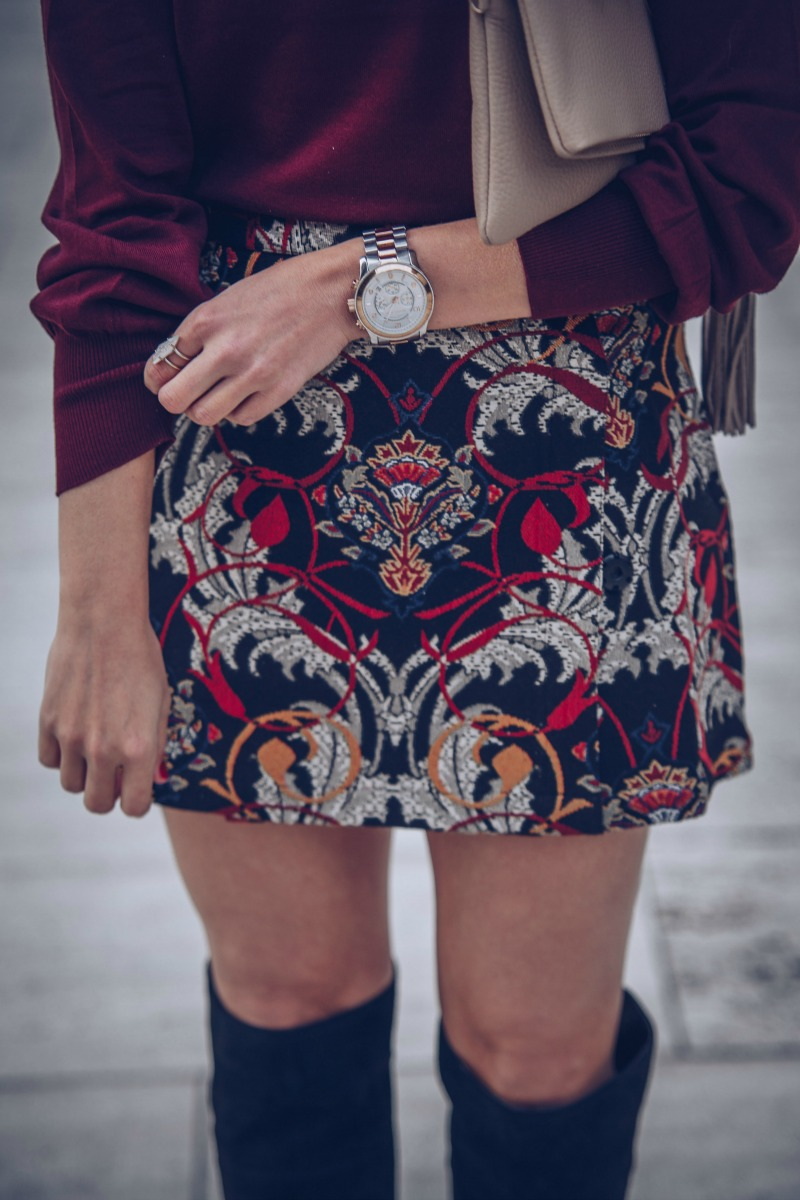 TOPSHOP Tapestry Mini Skirt, GIGI NEW YORK Stella Clutch