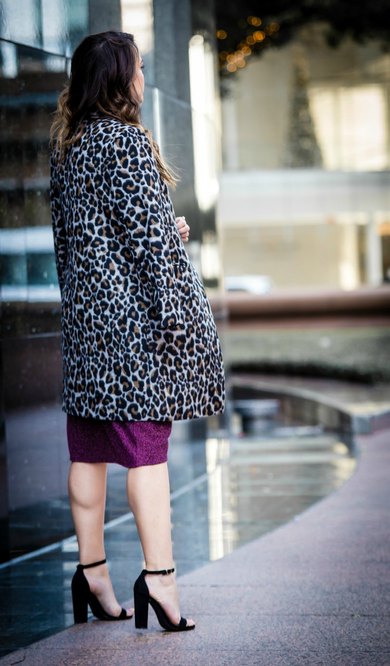TOPSHOP Glitter Wrap Dress, TOPSHOP Leoard Print Coat, BAUBLEBAR Statement Earrings