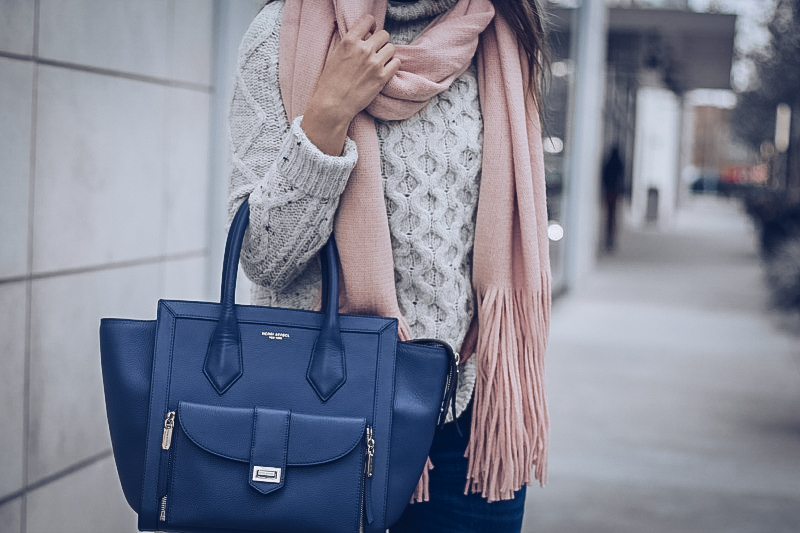 MADEWELL Cable Knit Sweater, HENRI BENDEL Rivington Tote