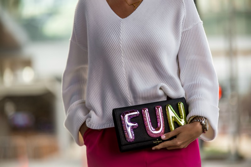 TOPSHOP Pink Structured Pants, KATE SPADE Fun Balloon Clutch, FREE PEOPLE V Neck Sweater