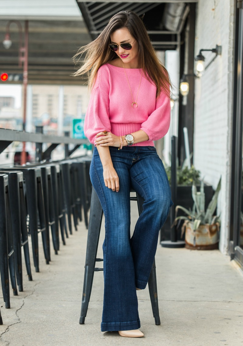 Galentine's day Date outfit, Anthropologie Cropped Balloon Sleeve Pullover, 7 for all mankind jeans, dagne dover charlie tote
