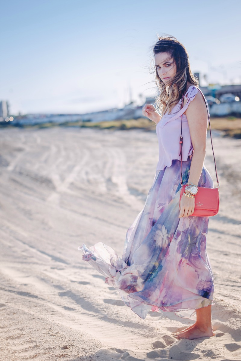 WATERCOLOR FLORALS, Dancing Watercolor Floral Maxi Skirt, ASOS Swing Cami with Bow Shoulder