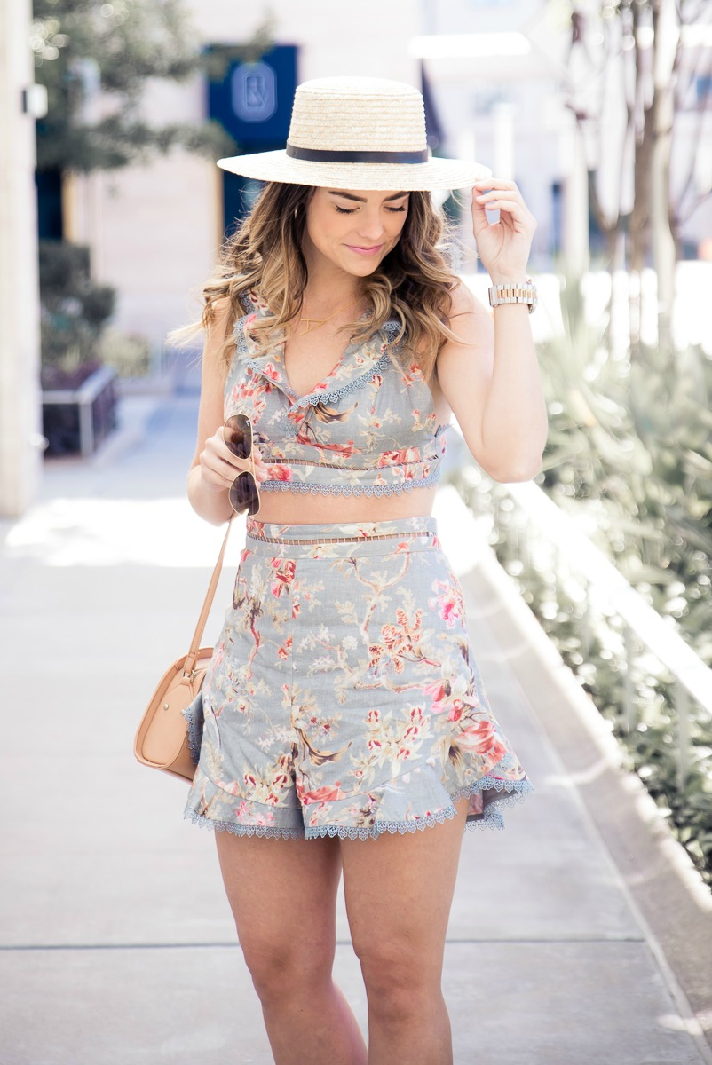 VINTAGE INSPIRED FLORALS, ZIMMERMANN MERCER FLUTTER SHORTS AND FRILL TOP SET