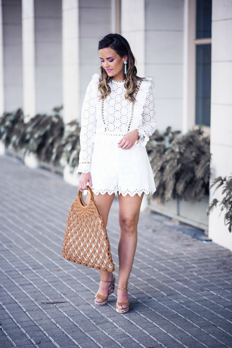 ZIMMERMANN WHITE SHORTS AND FRILL TOP