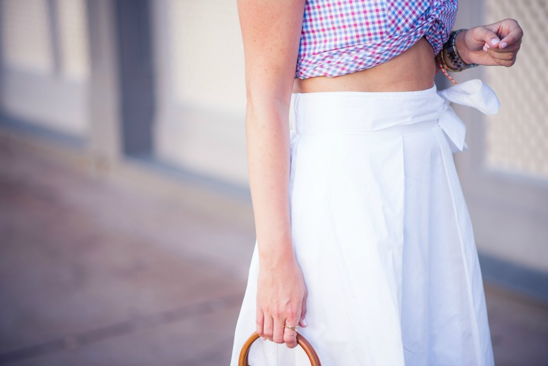 Petersyn Tyler Top in Hampton Check, KENDALL + KYLIE Swing Skirt in Bright White