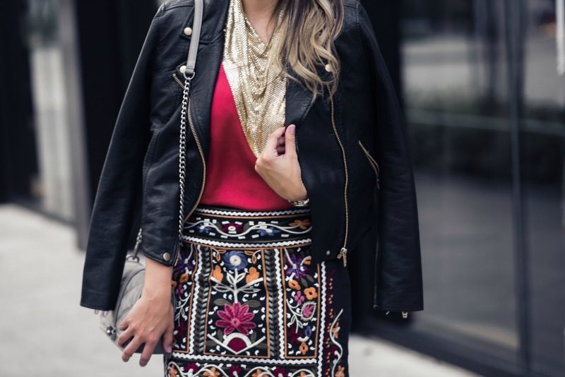 MULTICOLORED EMBROIDERED MINI SKIRT