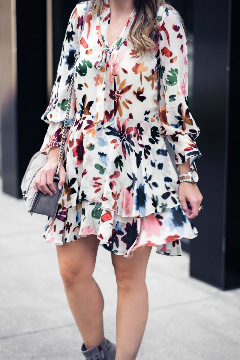 ALICE + OLIVIA FALL FLORALS, ALICE + OLIVIA Moran Tiered Floral A-Line Dress