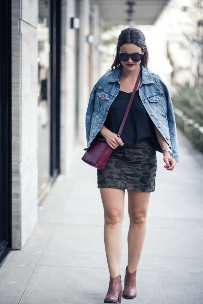 REBECCA MINKOFF CAMO MINI SKIRT by Houston fashion blogger The Styled Fox