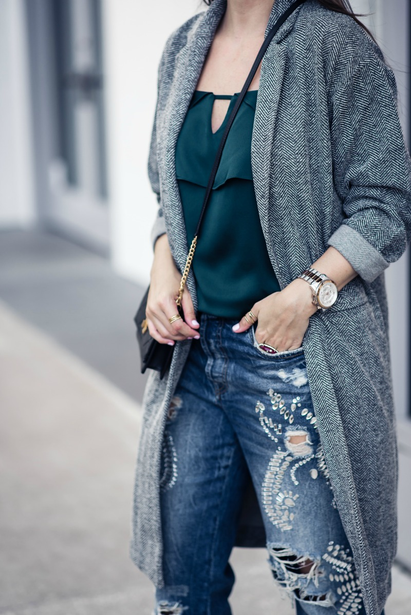AFFORDABLE FALL OUTERWEAR, TOPSHOP Herringbone Jersey Coat - by Houston fashion blogger The Styled Fox