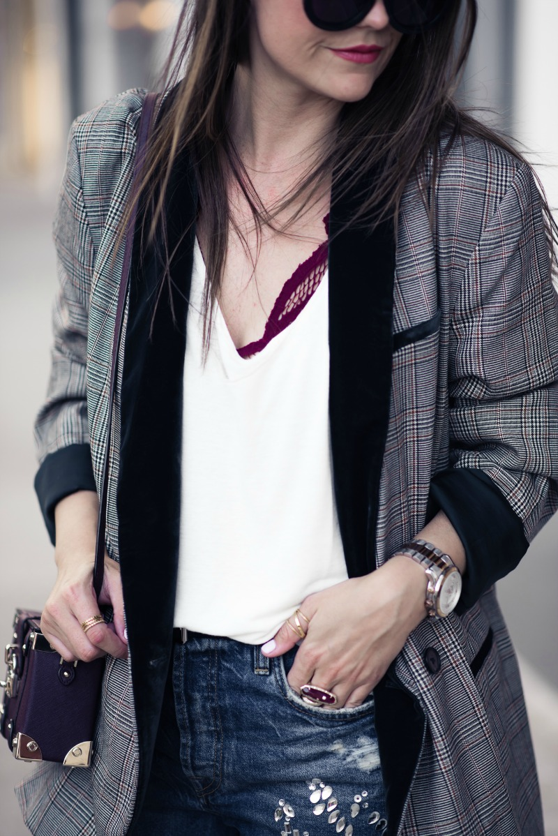 FREE PEOPLE VELVET TRIM BLAZER