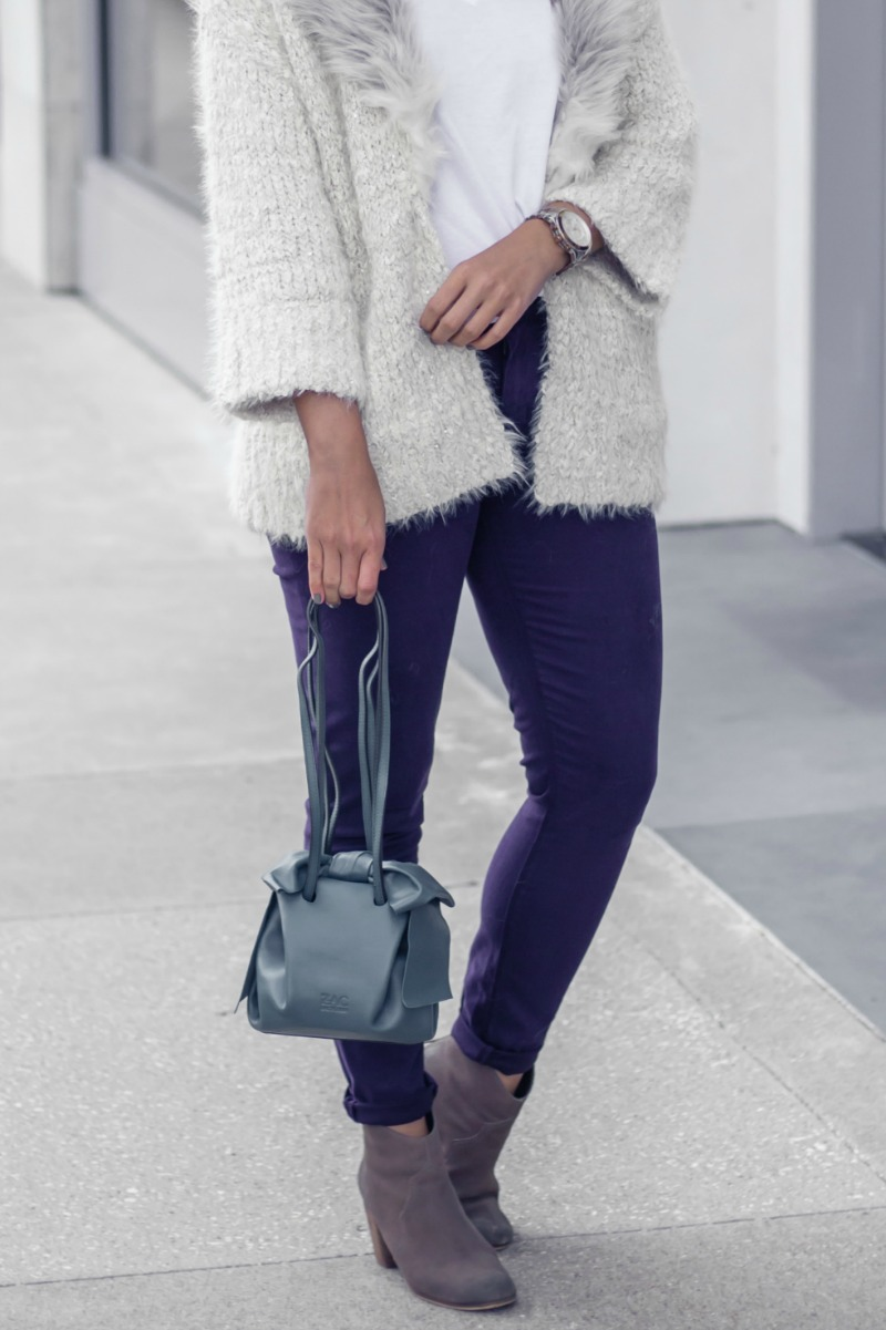 WEEKEND CASUAL WITH SILHOUETTE RIMLESS SILHOUETTE EYEWEAR, ANTHROPOLOGIE FAUX FUR COLLARED CARDIGAN by Houston fashion blogger The Styled Fox