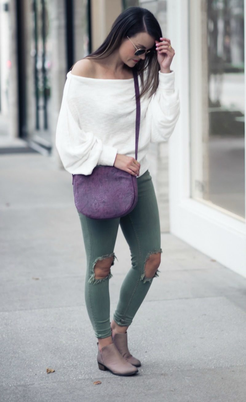 FREE PEOPLE THERMAL OFF THE SHOULDER TEE by Houston fashion blogger The Styled Fox