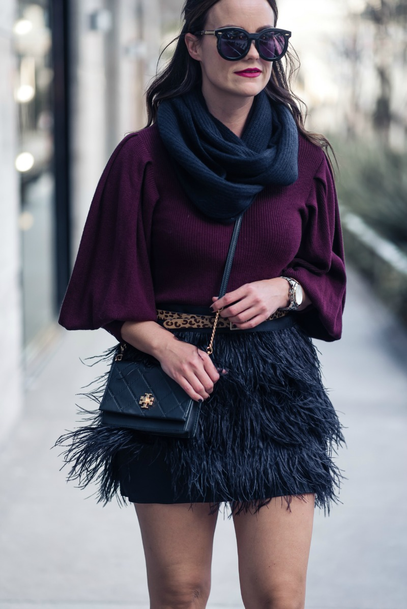 HOLIDAY OUTFIT INSPIRATION, MILLY FEATHER MINI SKIRT by Houston fashion blogger The Styled Fox
