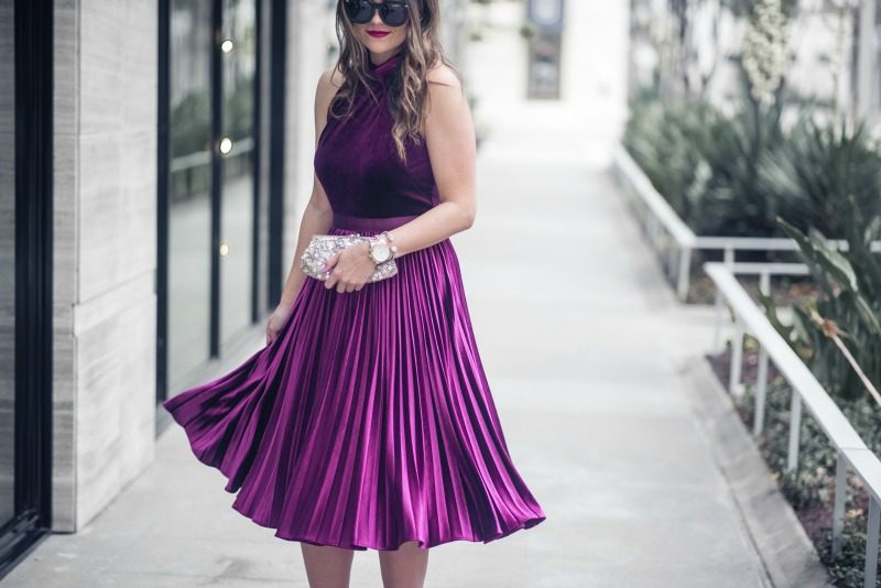 WHAT TO WEAR TO A WINTER WEDDING, Ted Baker London Cornela Pleated Velvet Dress - STYLISH WINTER WEDDING OUTFIT IDEAS by popular Houston fashion blogger The Styled Fox