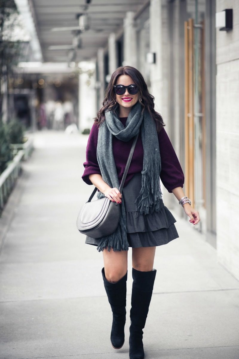 NORDSTROM, J.Crew Wool Flannel Ruffle Skirt by Houston fashion blogger The Styled Fox