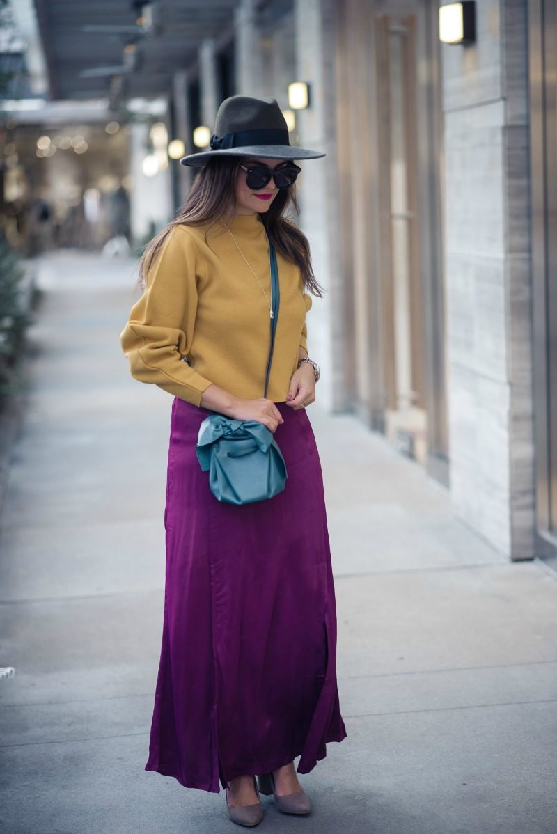 HOLIDAY OUTFIT INSPIRATION, ANTHROPOLOGIE RASPBERRY MAXI SKIRT - HOLIDAY OUTFIT INSPIRATION: RASPBERRY MAXI SKIRT by Houston fashion blogger The Styled Fox
