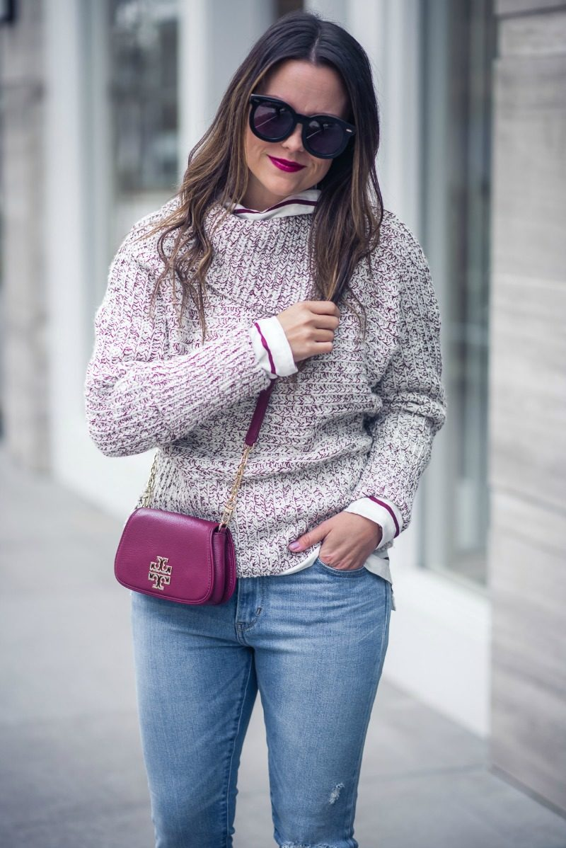 TOPSHOP ENVELOPE NECK SWEATER, MADEWELL Cotton Stripe Turtleneck Top - ENVELOPE NECK SWEATER by Houston fashion blogger The Styled Fox