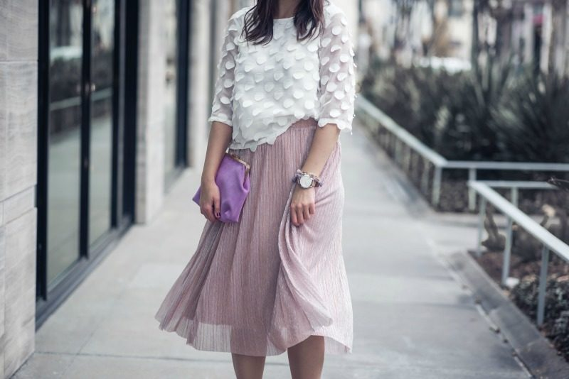 17249322b ANTHROPOLOGIE, Maeve METALLIC MIDI SKIRT by popular Houston fashion blogger  The Styled Fox