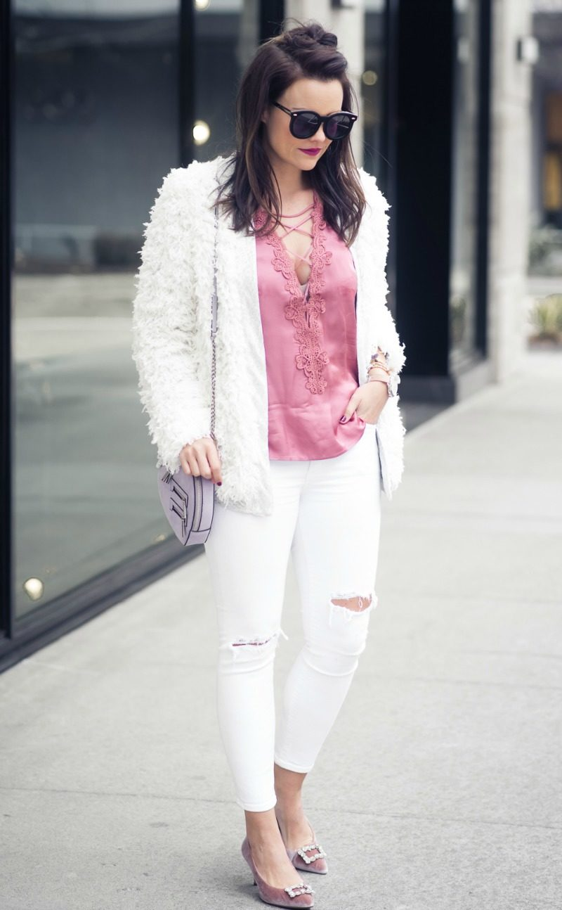 NORDSTROM, WILLOW & CLAY LACE-UP SATIN CAMISOLE by popular Houston fashion blogger The Styled Fox
