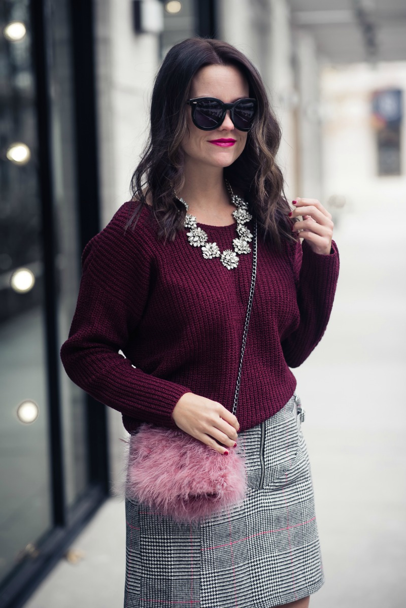 ASTR THE LABEL twist back sweater, Topshop Side Buckle Check Miniskirt - TWIST BACK SWEATER by popular Houston fashion blogger The Styled Fox