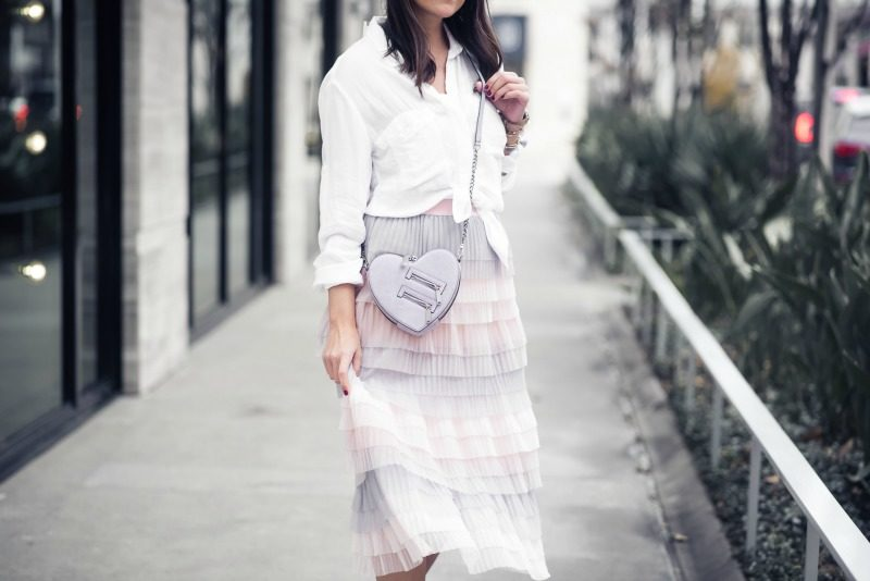 08e3383f32 ANTHROPOLOGIE, EVA FRANCO TIERED TULLE MIDI SKIRT by popular Houston  fashion blogger The Styled Fox