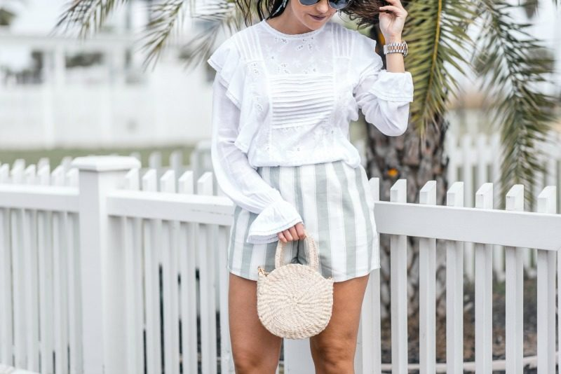 78e8f4b6ee5650 NORDSTROM THE FIFTH LABEL HIGH WAISTED STRIPED SHORTS by popular Houston  fashion blogger The Styled Fox