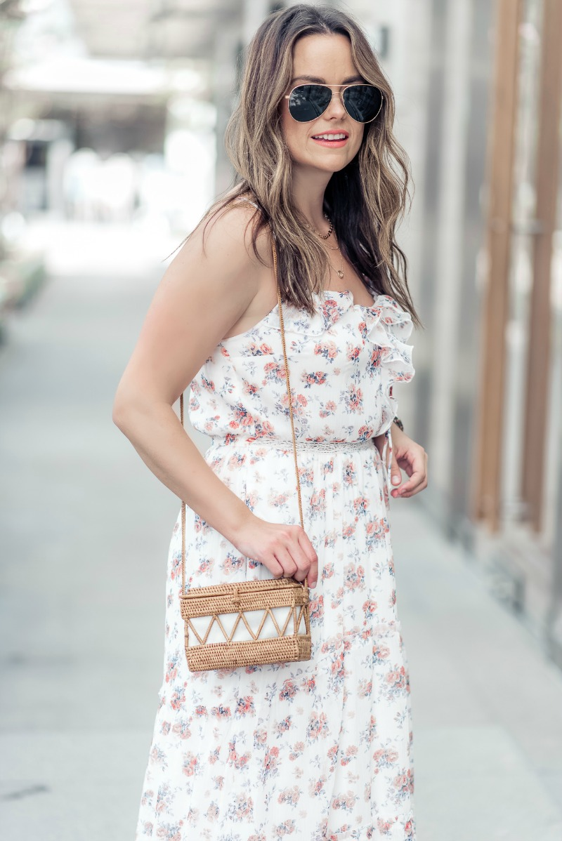 46b1d7cb217 Abercrombie   Fitch Ruffle Maxi Dress styled by popular Houston fashion  blogger