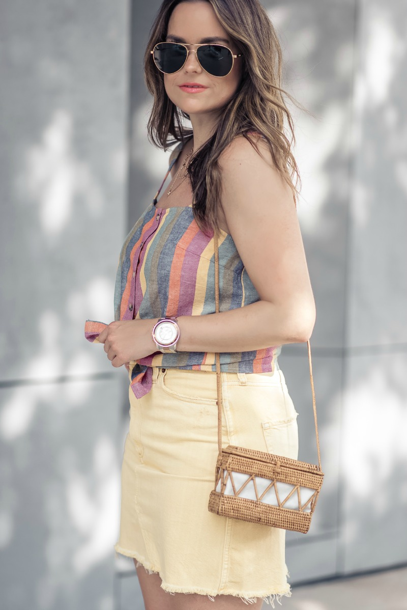 5000536923a Abercrombie   Fitch YELLOW DENIM MINI SKIRT styled by popular Houston  fashion blogger