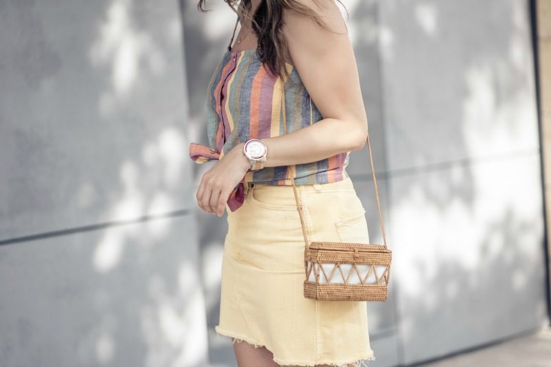 bd472e3f65 Abercrombie & Fitch YELLOW DENIM MINI SKIRT styled by popular Houston  fashion blogger, The Styled