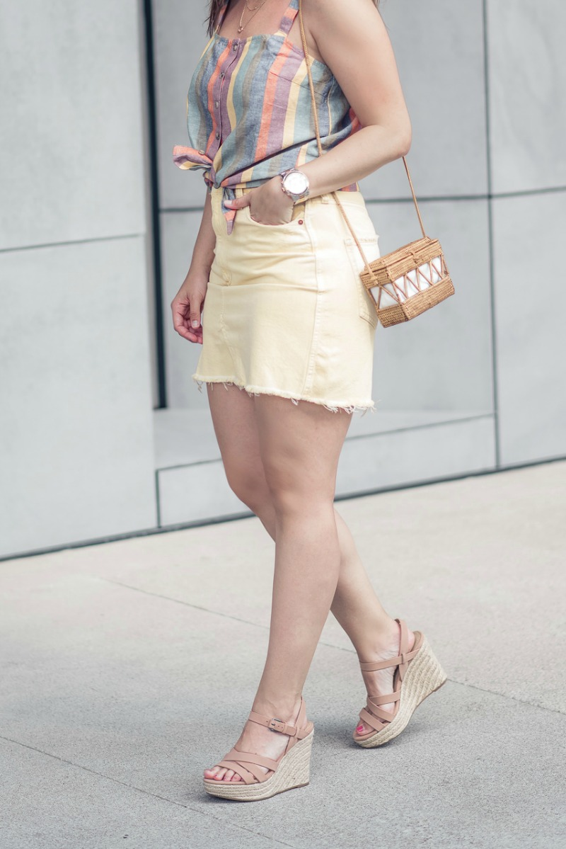 9dd5c14a34c Splendid Billie Espadrille Wedge   Abercrombie   Fitch YELLOW DENIM MINI SKIRT  styled by popular Houston