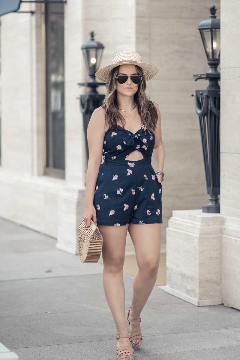 41c79e01bb79 Abercrombie Knot Front Floral Cute Out Romper styled by popular Houston  fashion blogger