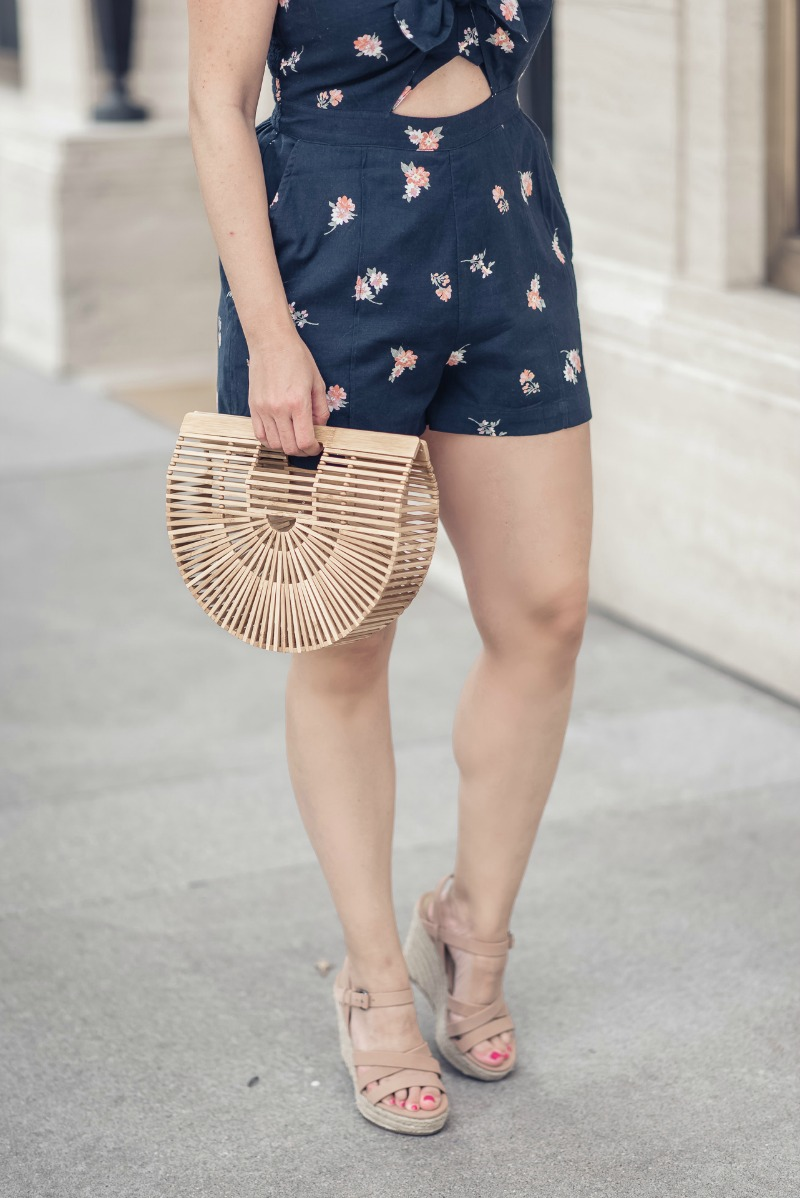 4e78a69ba15c Splendid Billie Espadrille Wedge   Abercrombie Knot Front Floral Cute Out Romper  styled by popular Houston