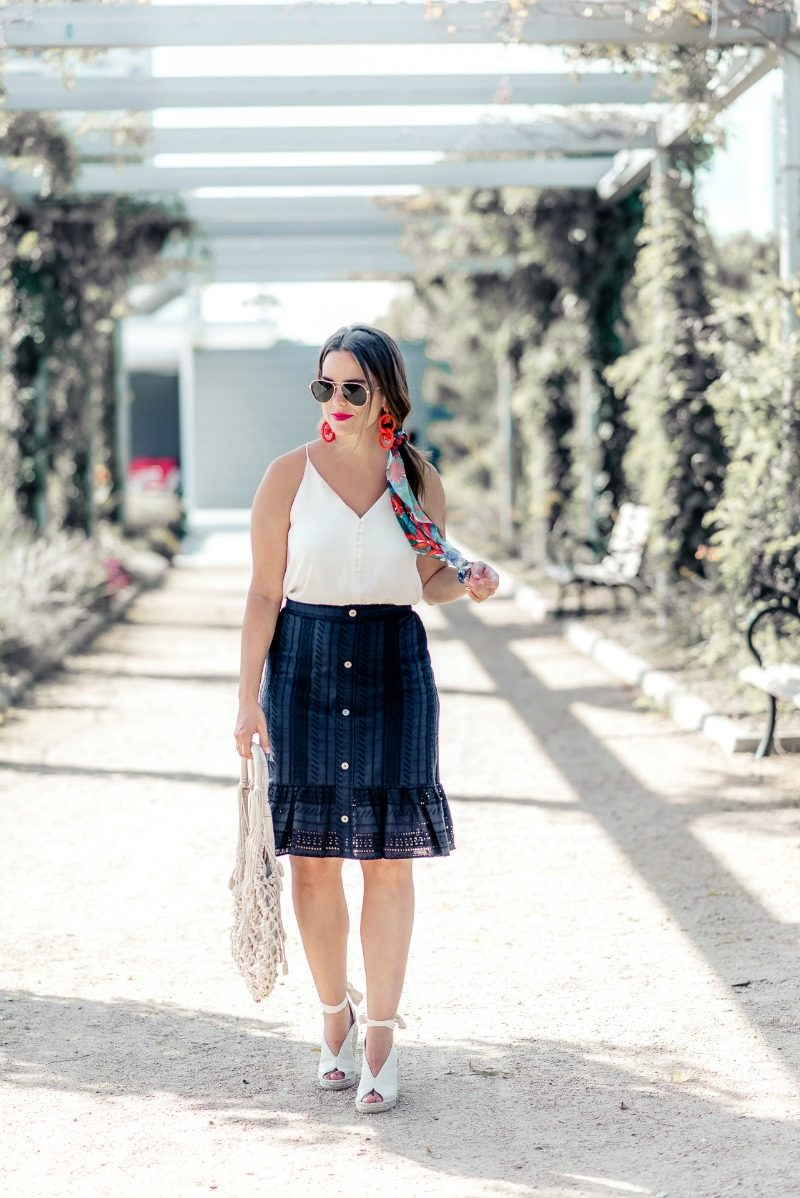 1dad3f2c7a LOFT Eyelet Skirt featured by popular Houston fashion blogger, The Styled  Fox