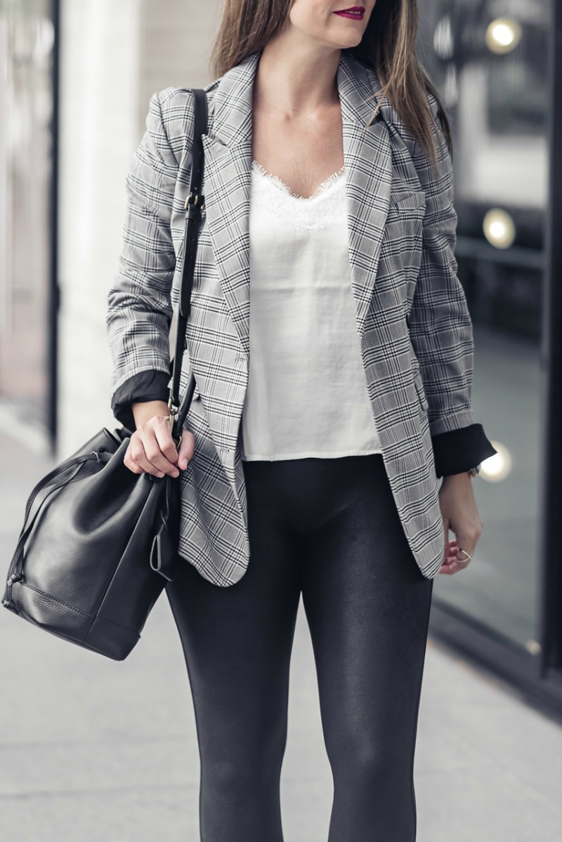 8ec024957ce SPANX® Faux Leather Leggings or SPANX leggings styled by popular Houston  fashion blogger