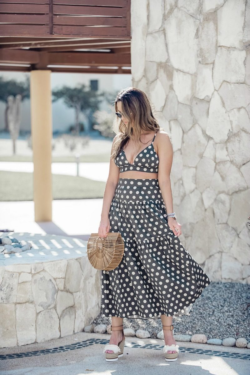 b8e6d7209bf Polka dot Petersyn two piece set styled by top US fashion blog, The Styled  Fox