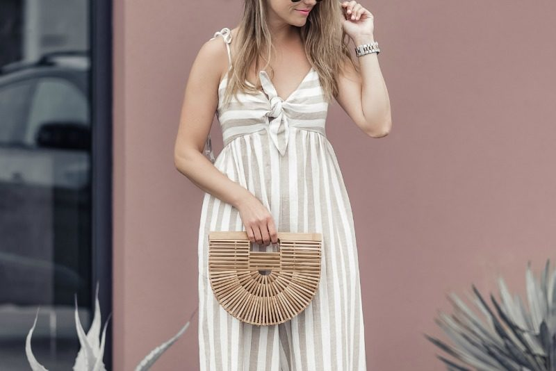 48e8415a065 Urban Outfitters Janie Striped Tie-Shoulder Wide Leg Jumpsuit